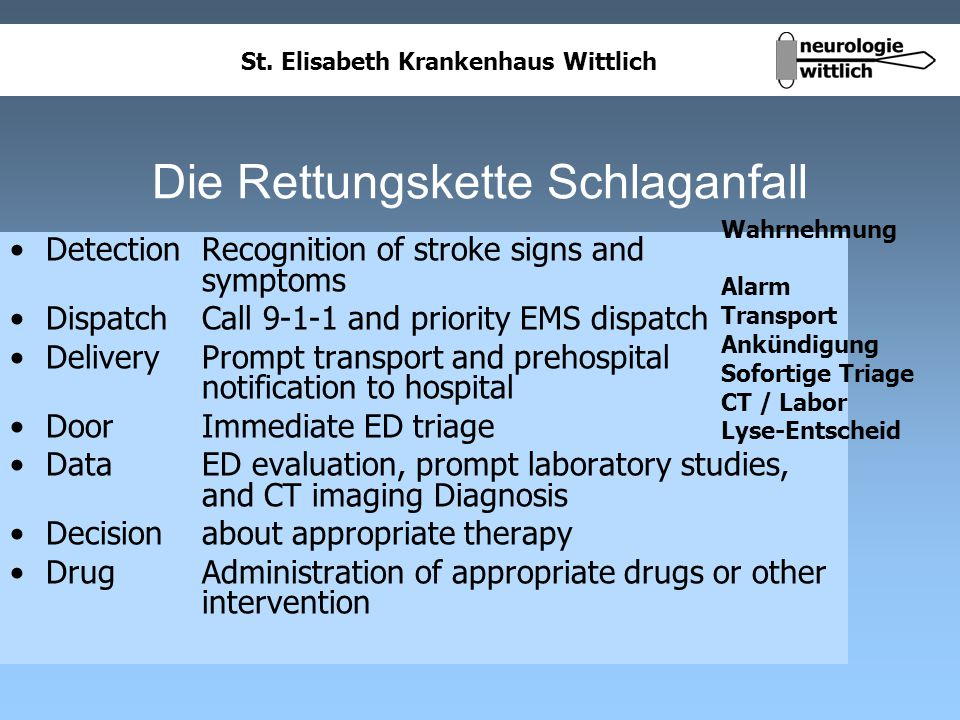 St. Elisabeth Krankenhaus Wittlich Die Rettungskette Schlaganfall Detection Recognition of stroke signs and symptoms Dispatch Call 9-1-1 and priority