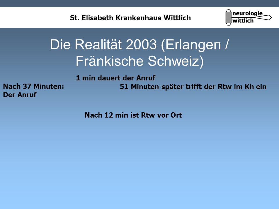 St. Elisabeth Krankenhaus Wittlich Die Realität 2003 (Erlangen / Fränkische Schweiz) Nach 37 Minuten: Der Anruf 1 min dauert der Anruf Nach 12 min ist