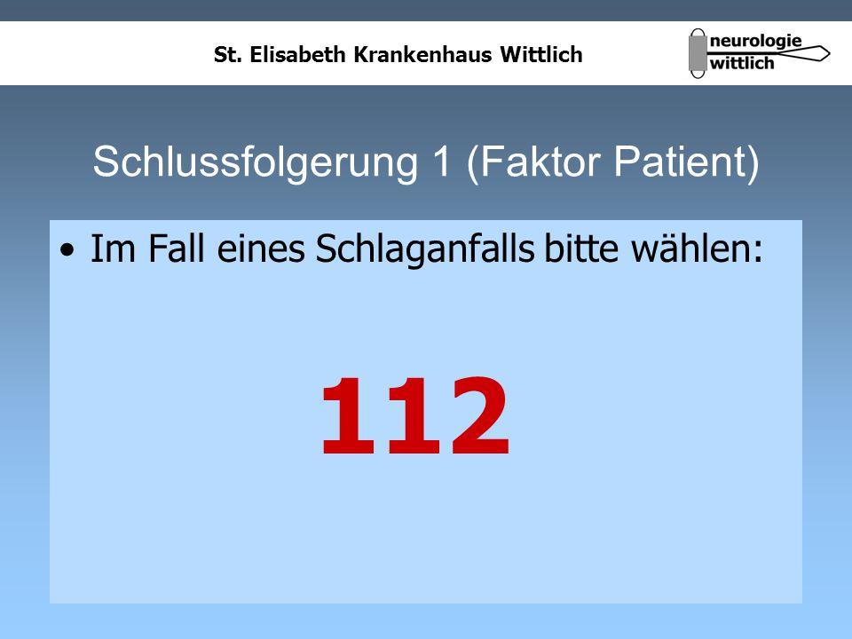 St. Elisabeth Krankenhaus Wittlich Schlussfolgerung 1 (Faktor Patient) Im Fall eines Schlaganfalls bitte wählen: 112