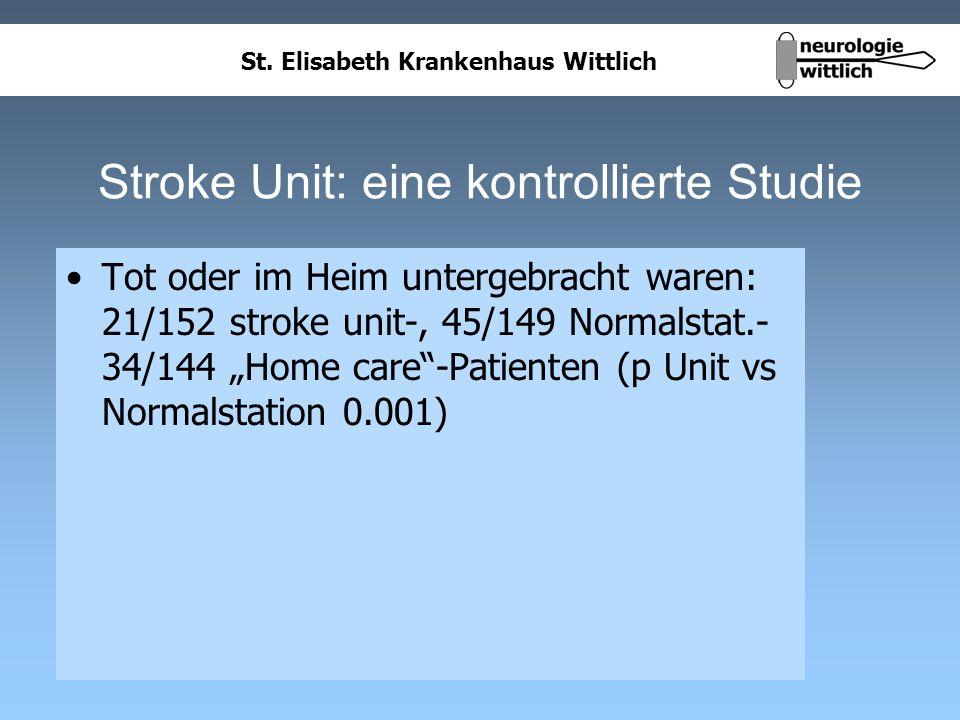 St. Elisabeth Krankenhaus Wittlich Stroke Unit: eine kontrollierte Studie Tot oder im Heim untergebracht waren: 21/152 stroke unit-, 45/149 Normalstat