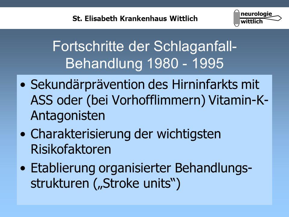 St. Elisabeth Krankenhaus Wittlich Fortschritte der Schlaganfall- Behandlung 1980 - 1995 Sekundärprävention des Hirninfarkts mit ASS oder (bei Vorhoff