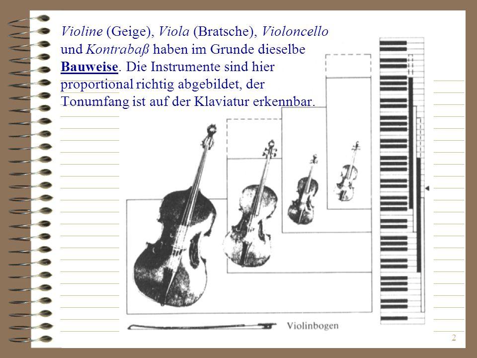 2 Violine (Geige), Viola (Bratsche), Violoncello und Kontrabaß haben im Grunde dieselbe Bauweise. Die Instrumente sind hier proportional richtig abgeb