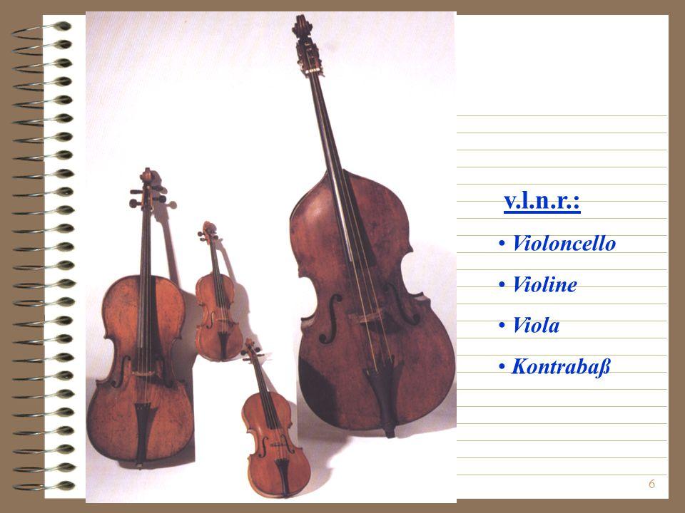 6 v.l.n.r.: Violoncello Violine Viola Kontrabaß