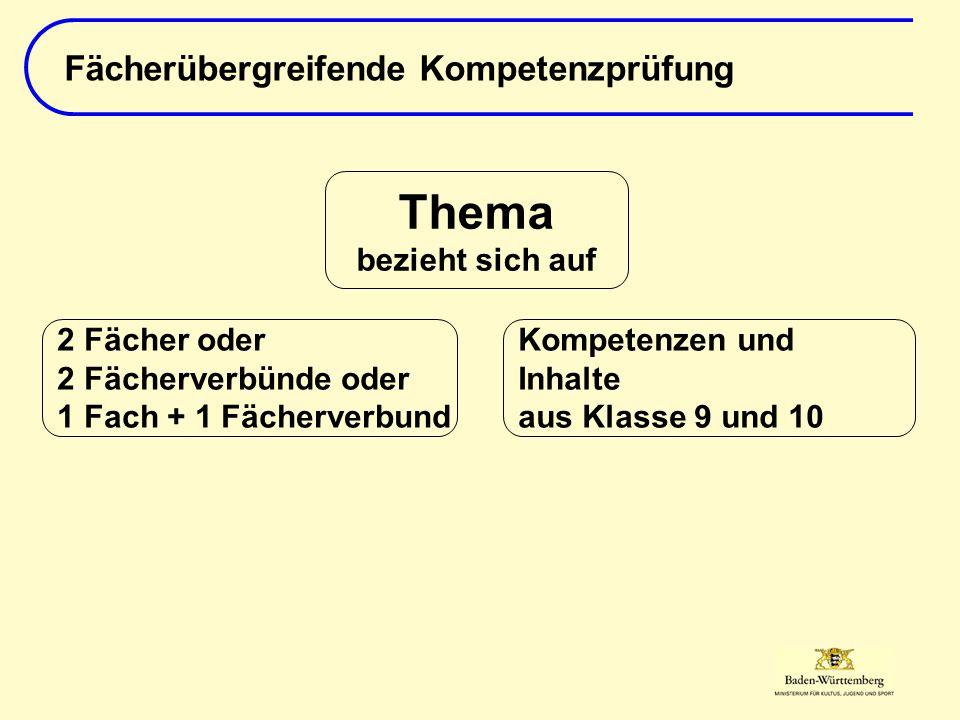 Fächerübergreifende Kompetenzprüfung Thema bezieht sich auf Kompetenzen und Inhalte aus Klasse 9 und 10 2 Fächer oder 2 Fächerverbünde oder 1 Fach + 1