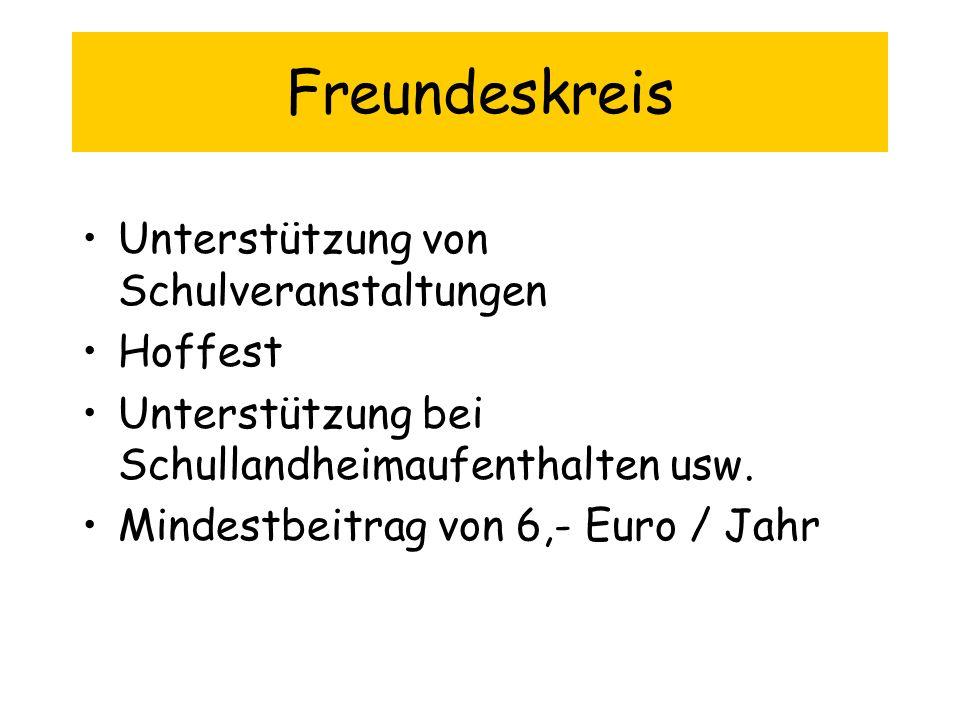 Freundeskreis Unterstützung von Schulveranstaltungen Hoffest Unterstützung bei Schullandheimaufenthalten usw. Mindestbeitrag von 6,- Euro / Jahr