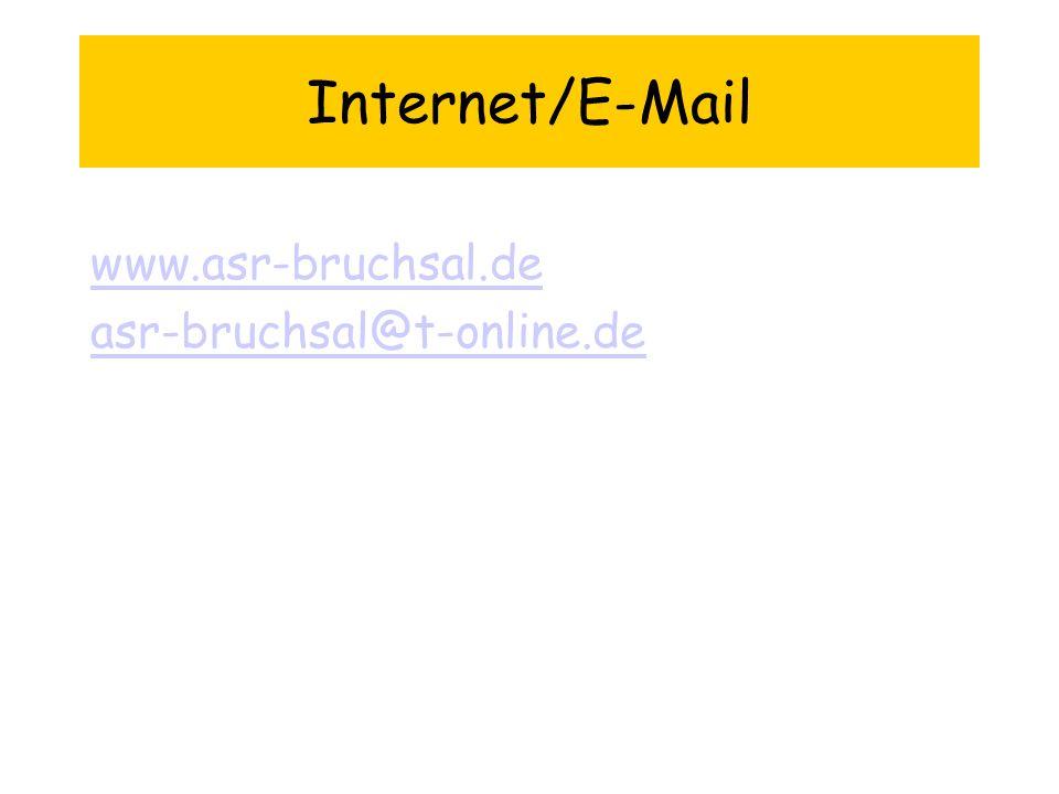Internet/E-Mail www.asr-bruchsal.de asr-bruchsal@t-online.de