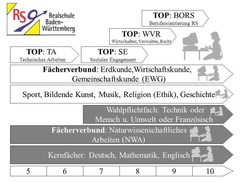 5678910 Kernfächer: Deutsch, Mathematik, Englisch Sport, Bildende Kunst, Musik, Religion (Ethik), Geschichte Wahlpflichtfach: Technik oder Mensch u.