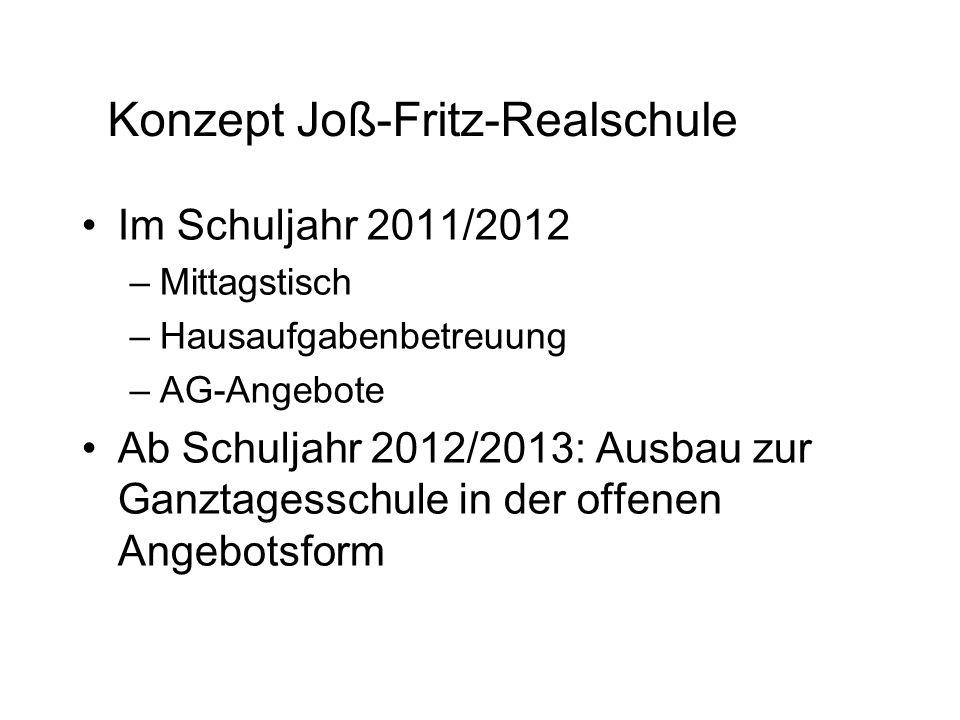Konzept Joß-Fritz-Realschule Im Schuljahr 2011/2012 –Mittagstisch –Hausaufgabenbetreuung –AG-Angebote Ab Schuljahr 2012/2013: Ausbau zur Ganztagesschu