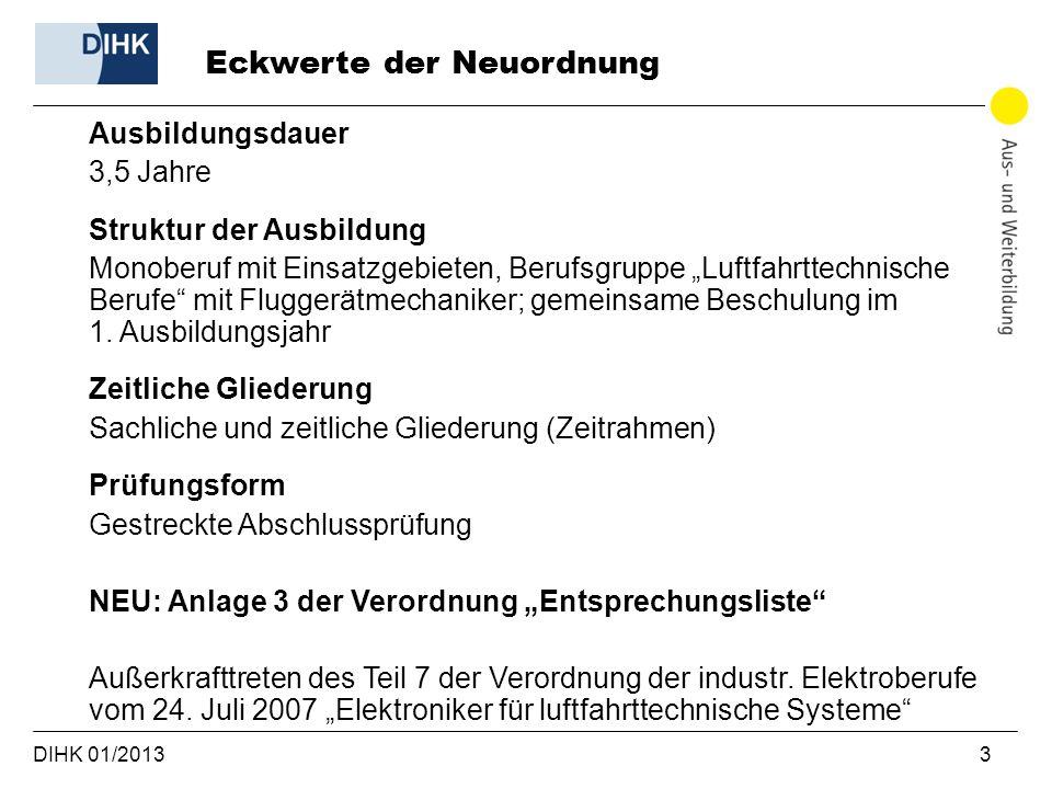 DIHK 01/2013 3 Ausbildungsdauer 3,5 Jahre Struktur der Ausbildung Monoberuf mit Einsatzgebieten, Berufsgruppe Luftfahrttechnische Berufe mit Fluggerät
