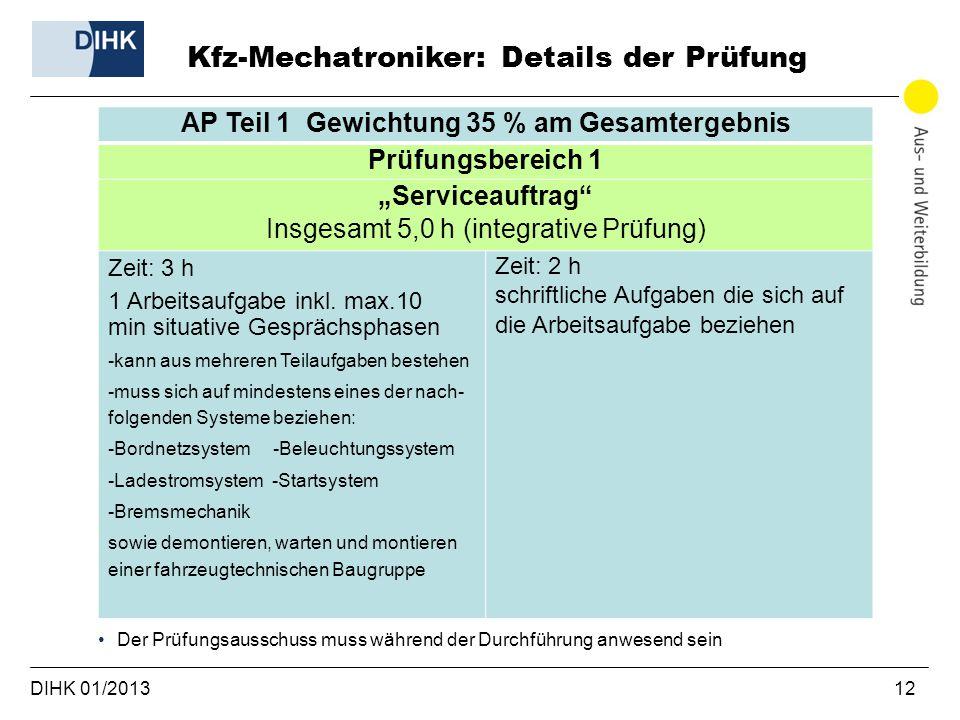 DIHK 01/2013 12 AP Teil 1 Gewichtung 35 % am Gesamtergebnis Prüfungsbereich 1 Serviceauftrag Insgesamt 5,0 h (integrative Prüfung) Zeit: 3 h 1 Arbeitsaufgabe inkl.