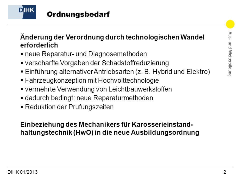 DIHK 01/2013 2 Änderung der Verordnung durch technologischen Wandel erforderlich neue Reparatur- und Diagnosemethoden verschärfte Vorgaben der Schadstoffreduzierung Einführung alternativer Antriebsarten (z.