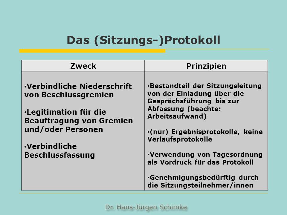 Das (Sitzungs-)Protokoll ZweckPrinzipien Verbindliche Niederschrift von Beschlussgremien Legitimation für die Beauftragung von Gremien und/oder Person