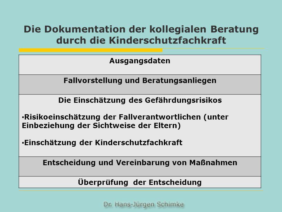 Die Dokumentation der kollegialen Beratung durch die Kinderschutzfachkraft Ausgangsdaten Fallvorstellung und Beratungsanliegen Die Einschätzung des Ge