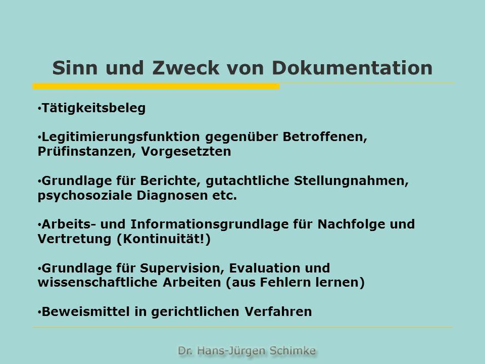 Sinn und Zweck von Dokumentation Tätigkeitsbeleg Legitimierungsfunktion gegenüber Betroffenen, Prüfinstanzen, Vorgesetzten Grundlage für Berichte, gut