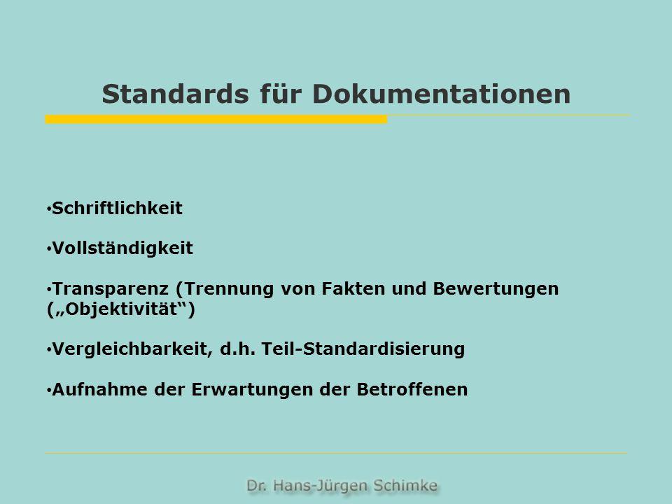 Standards für Dokumentationen Schriftlichkeit Vollständigkeit Transparenz (Trennung von Fakten und Bewertungen (Objektivität) Vergleichbarkeit, d.h. T