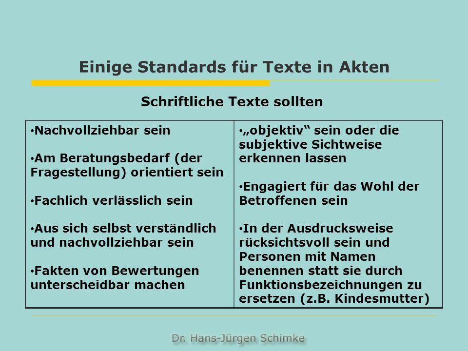 Einige Standards für Texte in Akten Schriftliche Texte sollten Nachvollziehbar sein Am Beratungsbedarf (der Fragestellung) orientiert sein Fachlich ve