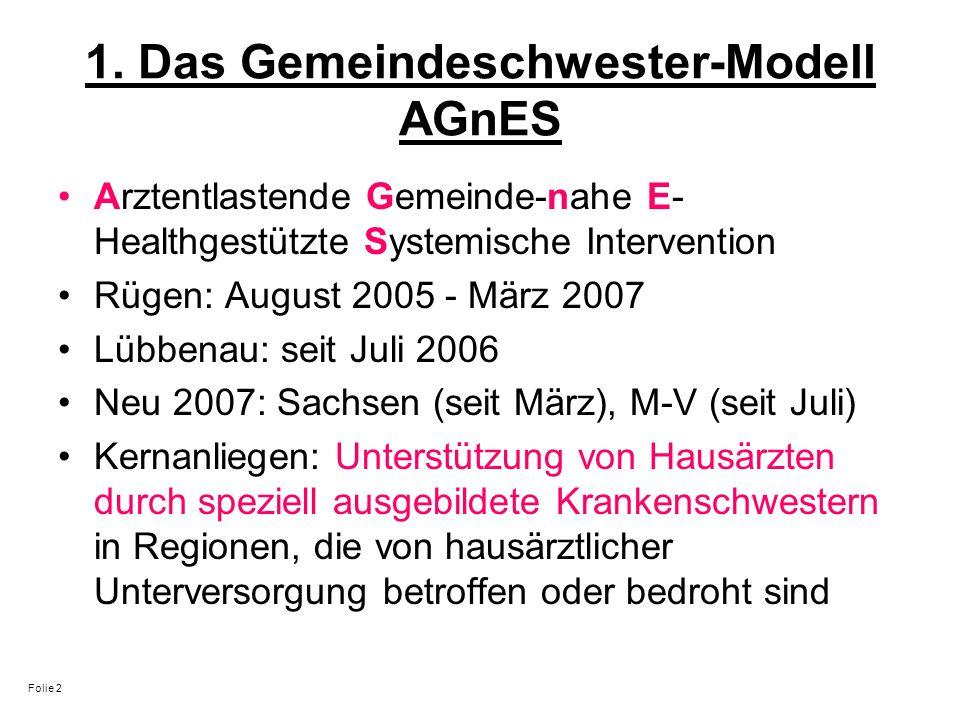 1. Das Gemeindeschwester-Modell AGnES Arztentlastende Gemeinde-nahe E- Healthgestützte Systemische Intervention Rügen: August 2005 - März 2007 Lübbena