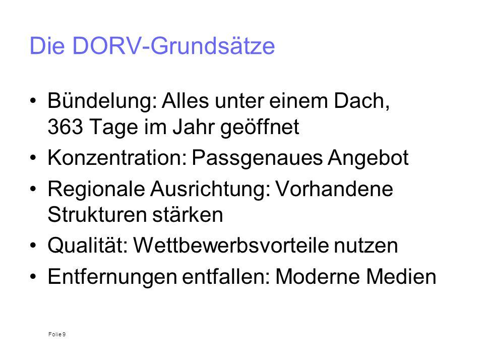 Die DORV-Grundsätze Bündelung: Alles unter einem Dach, 363 Tage im Jahr geöffnet Konzentration: Passgenaues Angebot Regionale Ausrichtung: Vorhandene