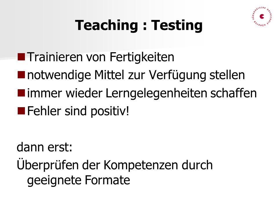 Teaching : Testing Trainieren von Fertigkeiten notwendige Mittel zur Verfügung stellen immer wieder Lerngelegenheiten schaffen Fehler sind positiv! da