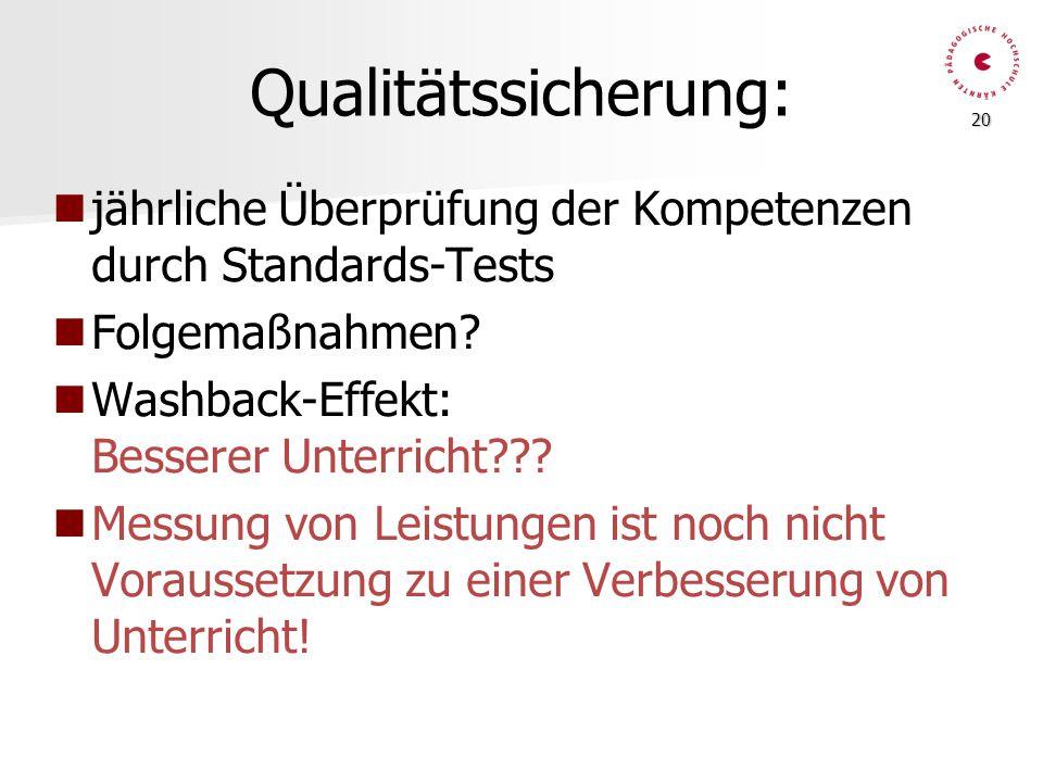 20 Qualitätssicherung: jährliche Überprüfung der Kompetenzen durch Standards-Tests Folgemaßnahmen? Washback-Effekt: Besserer Unterricht??? Messung von