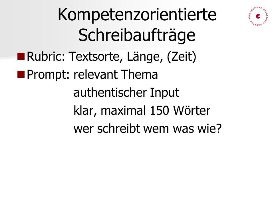 Kompetenzorientierte Schreibaufträge Rubric: Textsorte, Länge, (Zeit) Prompt: relevant Thema authentischer Input klar, maximal 150 Wörter wer schreibt