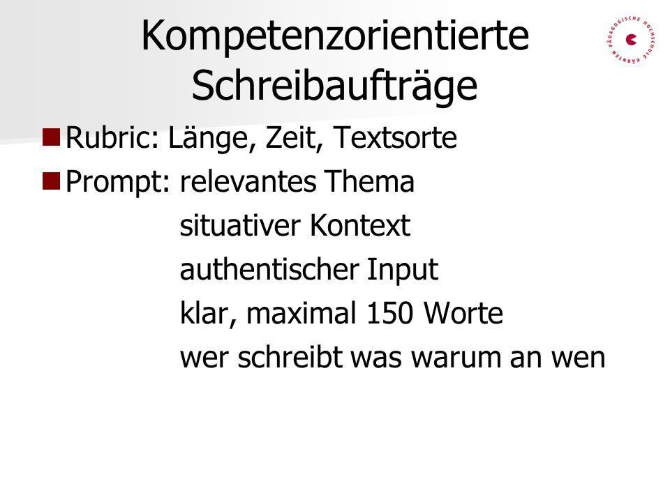 Kompetenzorientierte Schreibaufträge Rubric: Länge, Zeit, Textsorte Prompt: relevantes Thema situativer Kontext authentischer Input klar, maximal 150