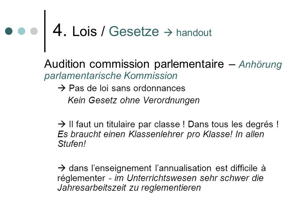 4. Lois / Gesetze handout Audition commission parlementaire – Anhörung parlamentarische Kommission Pas de loi sans ordonnances Kein Gesetz ohne Verord