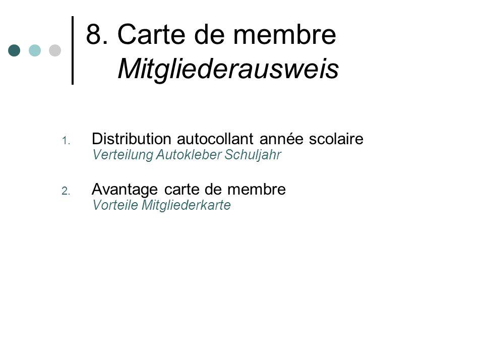 8. Carte de membre Mitgliederausweis 1.
