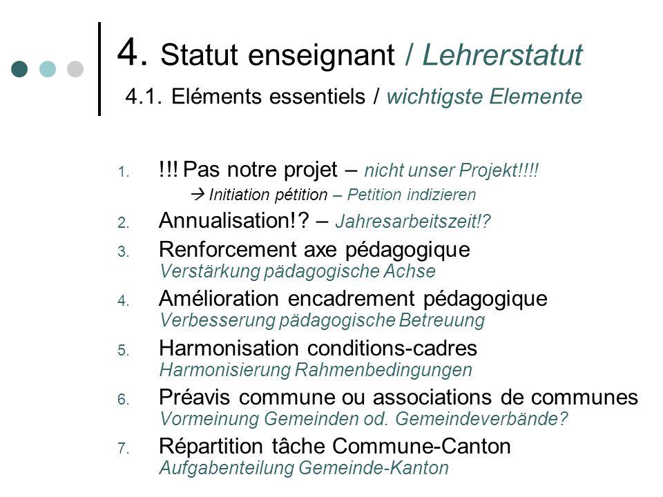 4. Statut enseignant / Lehrerstatut 4.1. Eléments essentiels / wichtigste Elemente 1.
