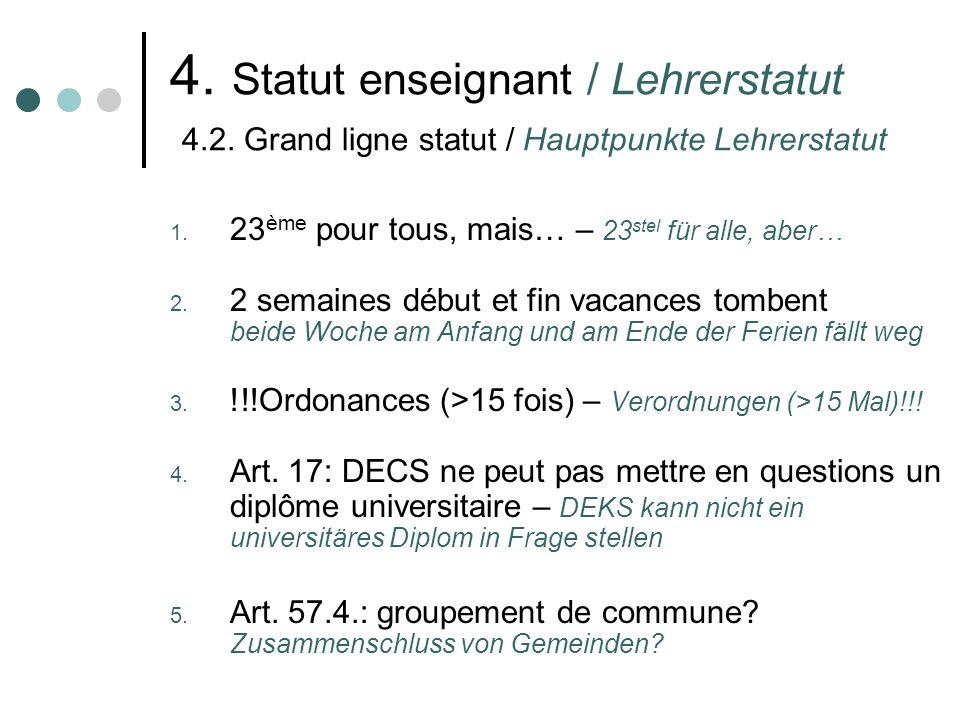 4. Statut enseignant / Lehrerstatut 4.2. Grand ligne statut / Hauptpunkte Lehrerstatut 1.