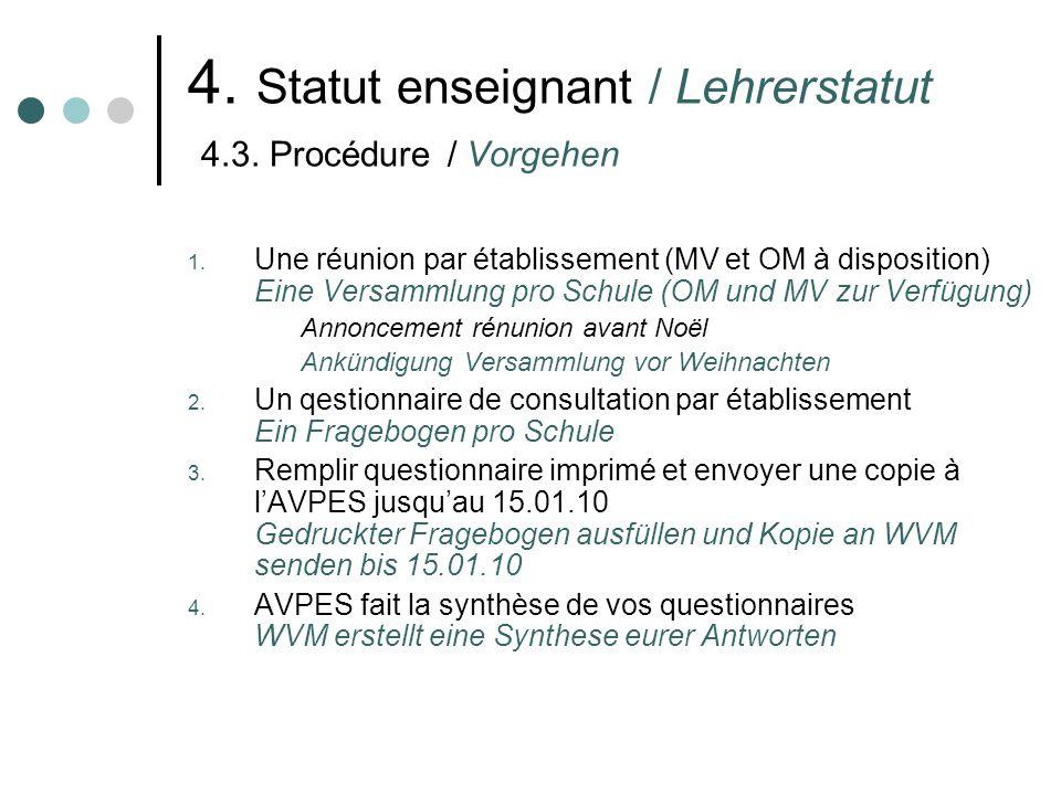 4.Statut enseignant / Lehrerstatut 4.4. Argumentaires / Argumentarium 1.