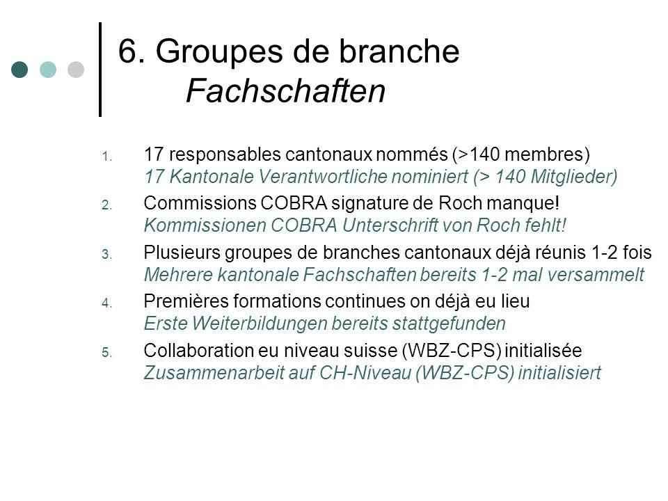 6. Groupes de branche Fachschaften 1.