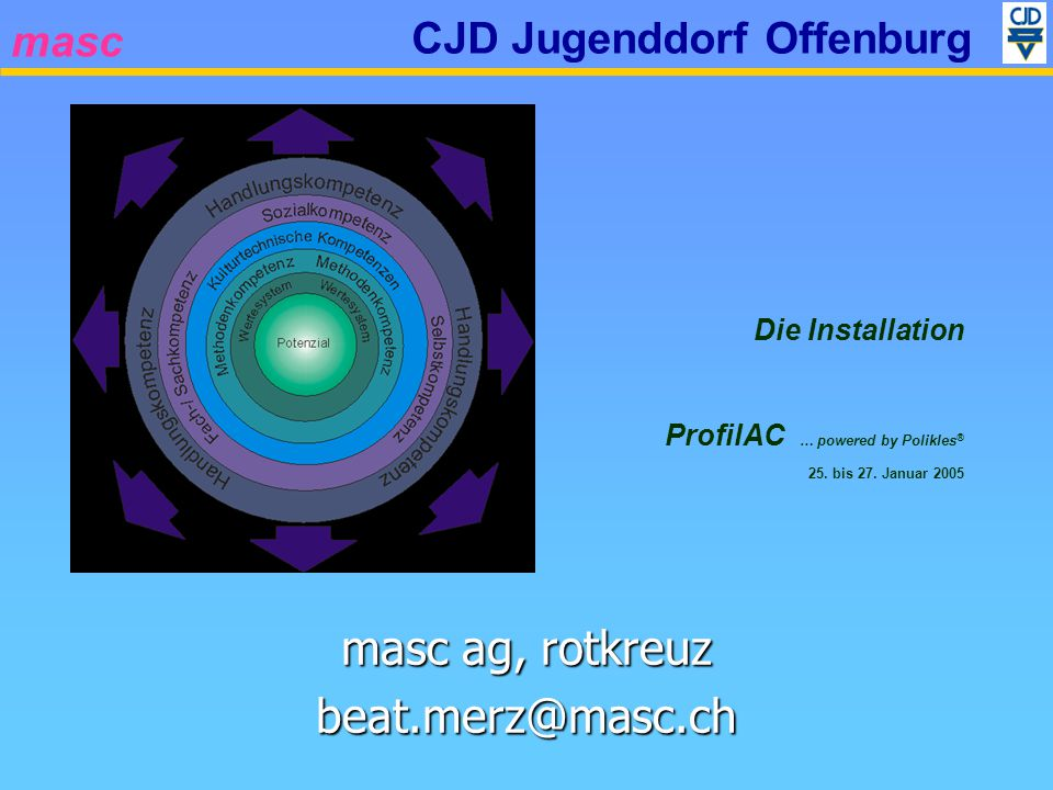 masc CJD Jugenddorf Offenburg Systemanforderungen Prozessor Pentium II mit 450 MHz Pentium II mit 450 MHz Pentium III mit 600 MHz Pentium III mit 600 MHzBetriebssystem Windows XP (Pro/Home) Windows XP (Pro/Home) Windows 2000, SP4 oder Windows 2000, SP4 oder höher höher (Windows 98) (Windows 98) Arbeitsspeicher (RAM) Windows 2000 – 96 MB Windows 2000 – 96 MB Windows XP – 160 MB Windows XP – 160 MBSonstigesDruckertreiber MS Word XP Acrobat Reader