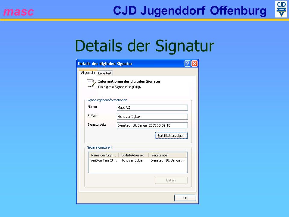 masc CJD Jugenddorf Offenburg Details der Signatur