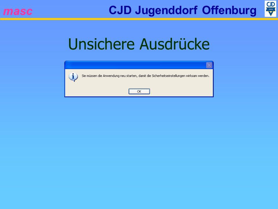 masc CJD Jugenddorf Offenburg Unsichere Ausdrücke