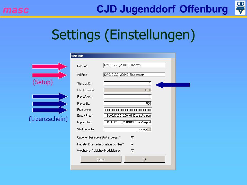 masc CJD Jugenddorf Offenburg Settings (Einstellungen) (Setup) (Lizenzschein)