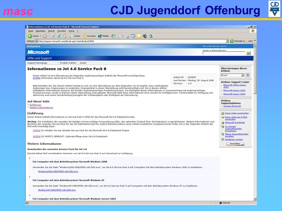 masc CJD Jugenddorf Offenburg Mögliche Probleme