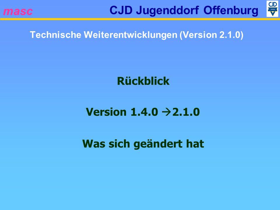 masc CJD Jugenddorf Offenburg Rückblick Version 1.4.0 2.1.0 Was sich geändert hat Technische Weiterentwicklungen (Version 2.1.0)