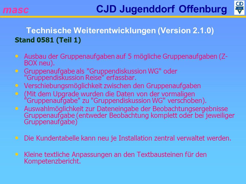 masc CJD Jugenddorf Offenburg Stand 0581 (Teil 1) Ausbau der Gruppenaufgaben auf 5 mögliche Gruppenaufgaben (Z- BOX neu). Gruppenaufgabe als