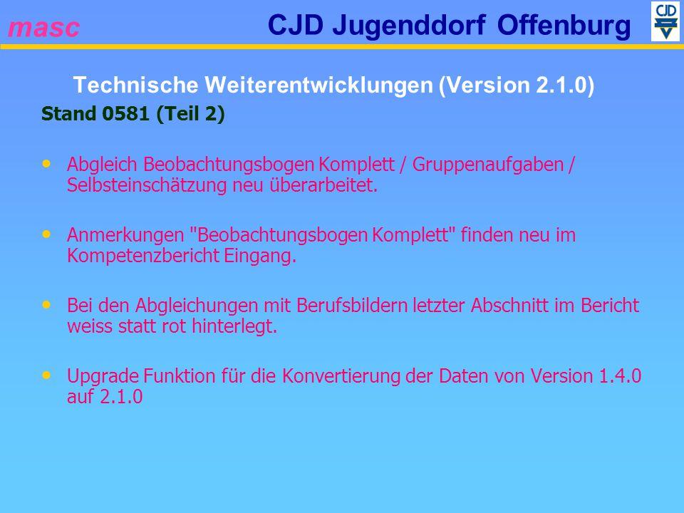 masc CJD Jugenddorf Offenburg Stand 0581 (Teil 2) Abgleich Beobachtungsbogen Komplett / Gruppenaufgaben / Selbsteinschätzung neu überarbeitet. Anmerku