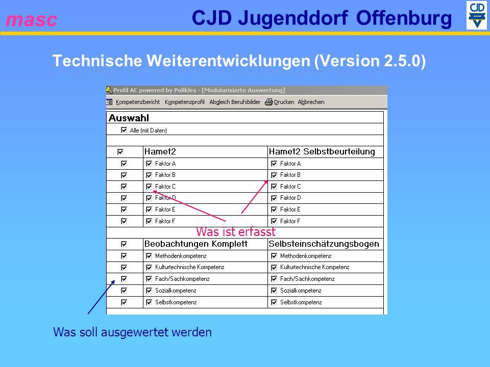masc CJD Jugenddorf Offenburg Was ist erfasstWas soll ausgewertet werden Technische Weiterentwicklungen (Version 2.5.0)