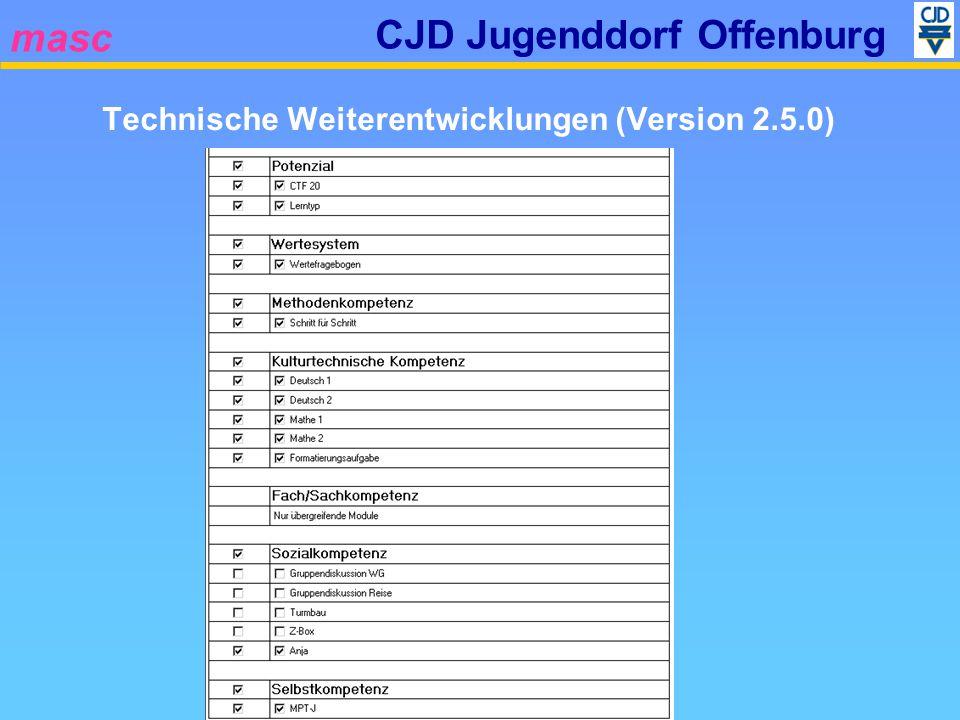 masc CJD Jugenddorf Offenburg Technische Weiterentwicklungen (Version 2.5.0) Die Modularisierte Auswertung betrifft: Kompetenzbericht Kompetenzprofil Beobachtungsergebnis Kompetenzprofil Testergebnis Abgleich Berufsbilder Dynamische Anforderungsprofile