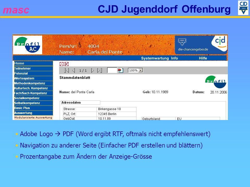 masc CJD Jugenddorf Offenburg Adobe Logo PDF (Word ergibt RTF, oftmals nicht empfehlenswert) Navigation zu anderer Seite (Einfacher PDF erstellen und
