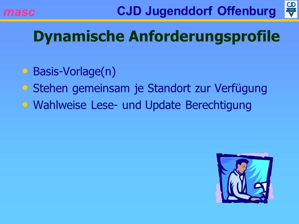 masc CJD Jugenddorf Offenburg Dynamische Anforderungsprofile Basis-Vorlage(n) Stehen gemeinsam je Standort zur Verfügung Wahlweise Lese- und Update Be