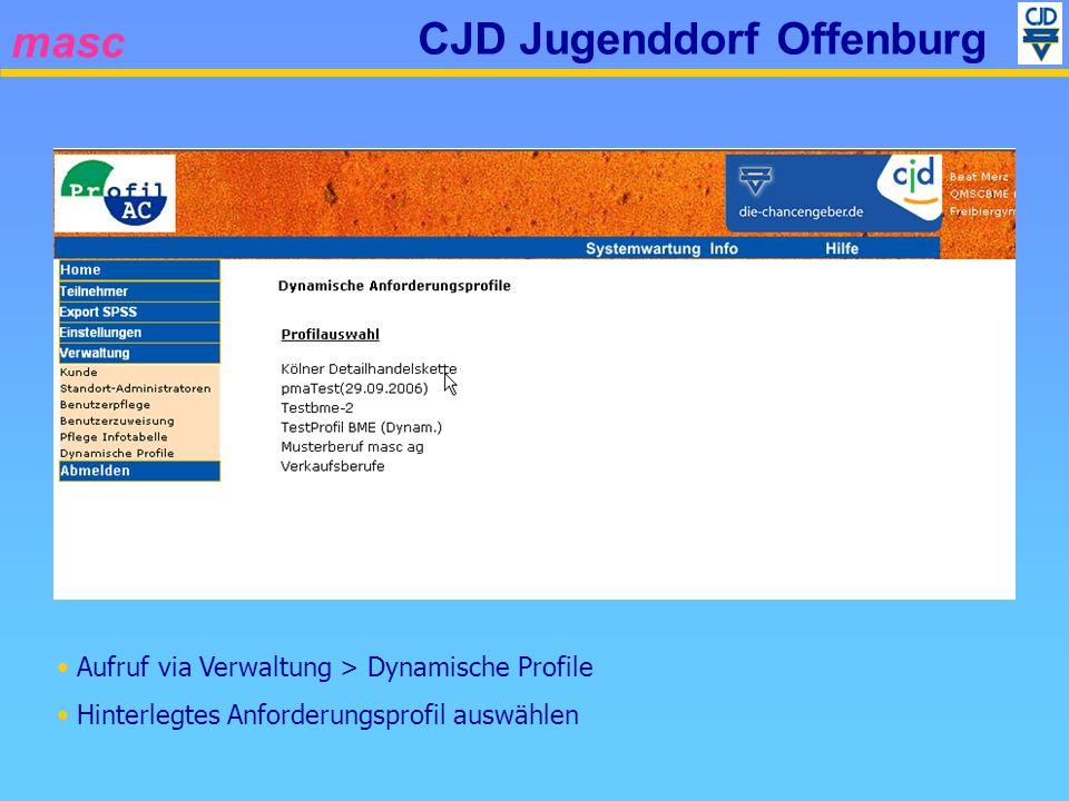 masc CJD Jugenddorf Offenburg Aufruf via Verwaltung > Dynamische Profile Hinterlegtes Anforderungsprofil auswählen