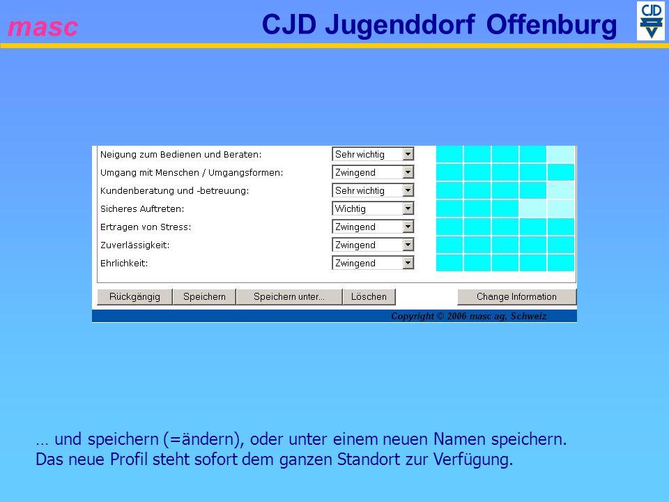 masc CJD Jugenddorf Offenburg … und speichern (=ändern), oder unter einem neuen Namen speichern. Das neue Profil steht sofort dem ganzen Standort zur