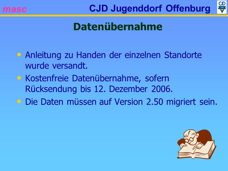 masc CJD Jugenddorf Offenburg Datenübernahme Anleitung zu Handen der einzelnen Standorte wurde versandt. Kostenfreie Datenübernahme, sofern Rücksendun