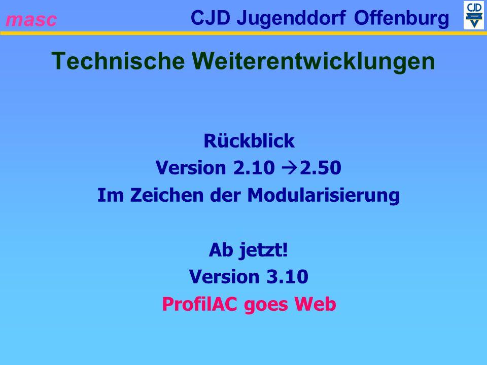 masc CJD Jugenddorf Offenburg Rückblick Version 2.10 2.50 Im Zeichen der Modularisierung Ab jetzt! Version 3.10 ProfilAC goes Web Technische Weiterent