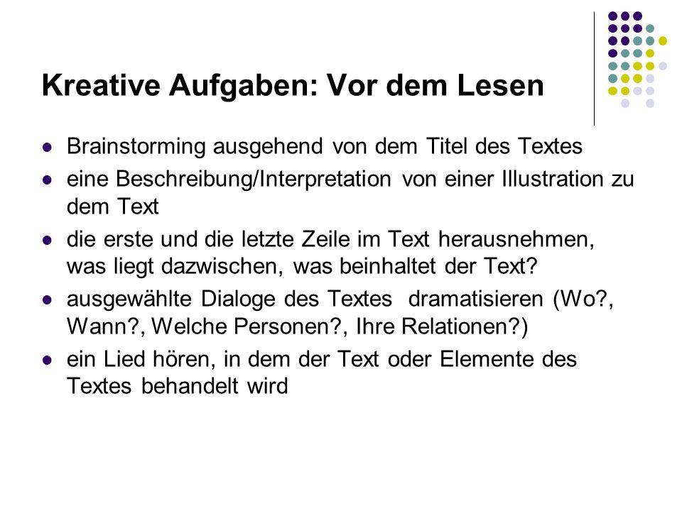 Kreative Aufgaben: Vor dem Lesen Brainstorming ausgehend von dem Titel des Textes eine Beschreibung/Interpretation von einer Illustration zu dem Text