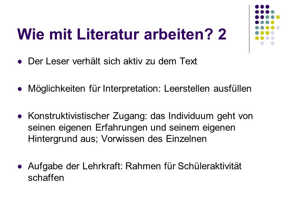 Wie mit Literatur arbeiten? 2 Der Leser verhält sich aktiv zu dem Text Möglichkeiten für Interpretation: Leerstellen ausfüllen Konstruktivistischer Zu